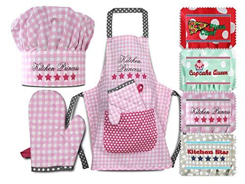Emily´s Check Kochmütze + Küchenschürze + Topfhandschuh für Kinder - 3teiliges Set 1428.2002, Kitchen Princess, Medium [7-12 Jahre]