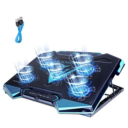 ノートパソコン冷却パッド 冷却台 強冷 冷却ファン Keytheme 5つ冷却ファン搭載 7段階高度調整可 風量調節可 冷却ノートクーラー ledライト 滑り止め付き pc/iPad/Macbook/Macbook Pro/PS3/PS4に対応 オフィス/自宅/出張などに適用 日本語取扱書付 ブルー