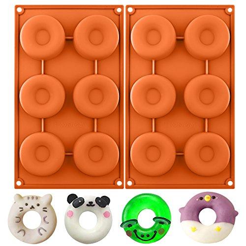 Funshowcase Medium 6 Cavity Donut Silicone Mold 2 in Set