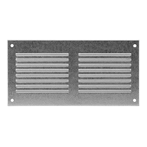 Ventilation Grill 8' x 4' with Insect Protection, 200x100 mm , Metal, Galvanised, mr2010zn