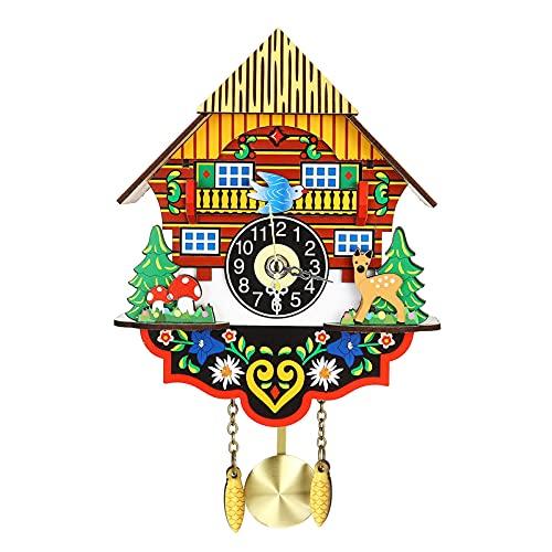 Chengzuoqing Moderno reloj de pared vintage con pájaro cuco péndulo de madera decorativo para salón, dormitorio, cocina