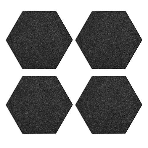 Navaris Filz Memoboards Set sechseckig - 4X Filz Pinnwand 20 x 17 x 1,5cm mit Stecknadeln und Klebeband - Filzboard für Küche und Büro - Dunkelgrau