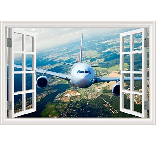 Paisaje papel pintado avión 3D etiqueta de la pared calcomanías vinilo pared...