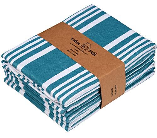 Urban Villa Trendy Stripes Küchentücher, Geschirrtücher aus 100% Baumwolle, (Größe: 51X76 CMS) Blaugrün/Weiß Hochabsorbierende Handtücher und Geschirrtücher(6er-Set)