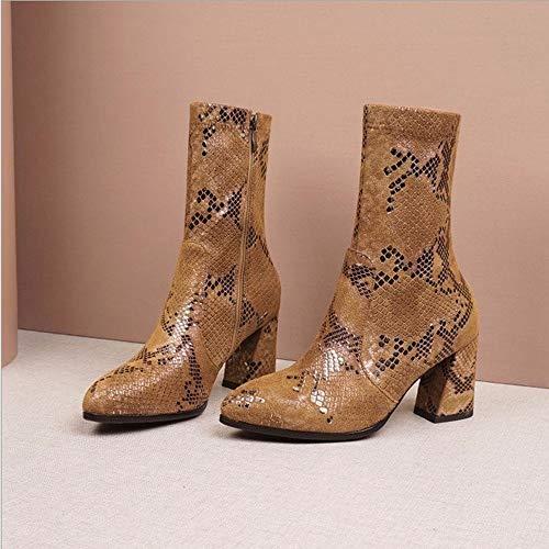JUNSHANG Botas de Vaquero Occidental, Botas de Cremallera Lateral Mid Boots Mujeres Snake Print Tacones de talón Punto Dedo Punto de Punto de Punto de Punto de Punto de Toe Invierno Boot,Brown-38