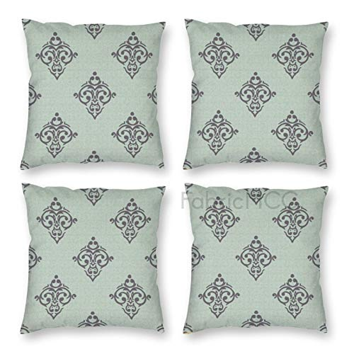 Pillow Covers 18 x 18 Inch Set of 4, And Grey Baroque Style Antique Ornamental Damask Motifs with Rococo Influences, Grey Pale Decorative Throw Pillow Case Cushion Cover for Sofa Couch Sofa Home