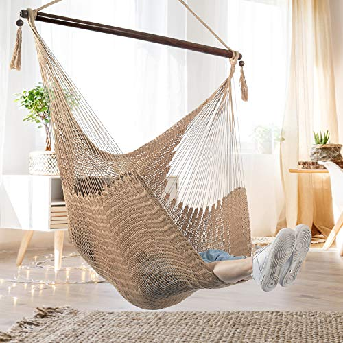 Bathonly Large Caribbean Hammock Hanging Chair with-Soft Spun Cotton Rope Hanging Chair, Swing Chair, with Wood Bar for Indoor/Outdoor Garden & Living Room