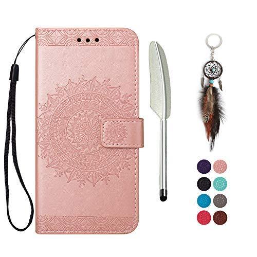 LA-Otter Funda de piel compatible con Samsung Galaxy A8 2018, mandala, color oro rosa, funda para teléfono móvil con tarjetero, funda de piel con tapa