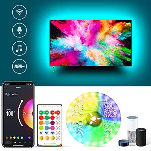 USB LED TV Hintergrundbeleuchtung Arbeitet mit Alexa, 3.8m Wifi 5050 LED Streifen mit App und IR Fernbedienung, 5050 RGB Farbwechsel Light Strip mit Musik sync für 32-55 Zoll TV/PC Monitor