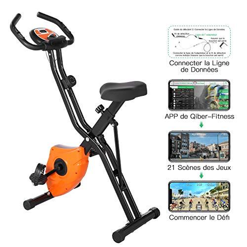 Profun Vélo d'Appartement Pliable Vélo d'Exercice APP 10 Niveaux de Resistance magnétique,...