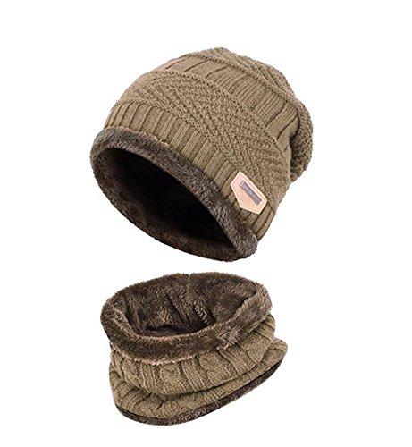 Kinder Winter warme Mütze mit Schal Strickmütze weich gefüttert.YR.Lover Khaki Einheitsgrösse