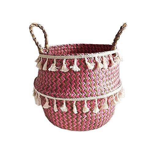 Szetosy - Cesta de junco para almacenamiento de Goodchance UK, con pompones. Cesta plegable tejida y con asa para ropa, juguetes, plantas o para usar en el cuarto del bebé, Estilo#13, 27x24cm