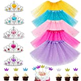 20Pcs Girls Princess Dress up Accessories Tutu Skirt Princess Tiara Crown Set Crown Cupcake Toppers Princess Party Decorations Gifts Party Favors Costume for Girls
