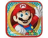 Super Mario Bros Plato de Fiesta Cuadrados, 8 Unidades, 23 cm (Amscan 551554)