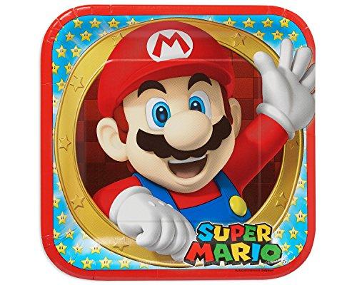 amscan Super Mario Party-Reihe Super Mario Pappteller, quadratisch, 23 cm, 8 Stück Mehrfarbig