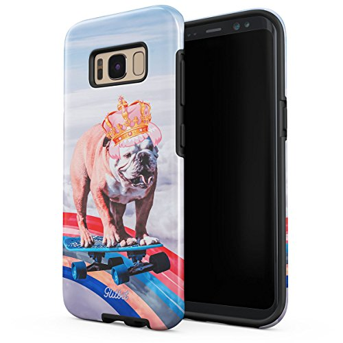 Glitbit Compatible with Samsung Galaxy S8 Case French Bulldog Flying Rainbow Dog Trippy Laser Unicorn Doggo Paw for Dog Lover Heavy Duty Shockproof Dual Layer Hard Shell + Silicone Protective Cover
