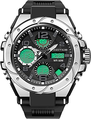 YQCH Reloj Militar Deportivo para Hombre Cronómetro 5ATM Reloj Impermeable Dual Time Tactical Digital Alarma al Aire Libre Relojes Deportivos para Hombres (Color : Silver)