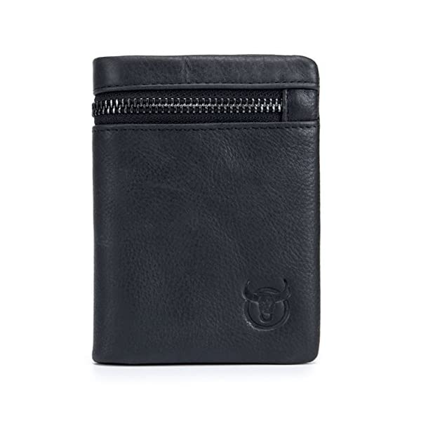 RFID Men's Genuine Leather Wallet, Bifold Multi Card Extra Capacity Wallet with Zippers 1