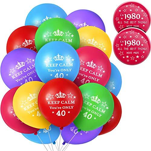 36 Piezas Globos Keep Calm de 40 Años Globos de Cumpleaños de 40 Años con 2 Piezas Insignias de Cumpleaños Botón de Broche 1980 de 75mm