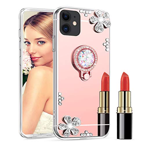 LEECOCO iPhone 11 Pro Case Silicone Bling Diamond Glitter Mirror Makeup Crystal Mirror Makeup Design Silicon TPU Soft Bumper Slim Cover for iPhone 11 Pro 5.8 Inch TPU Diamond Rose Gold