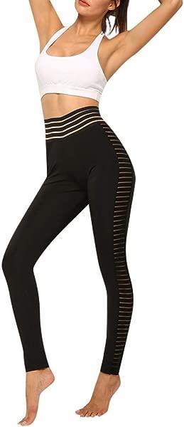 Wodceeke Women S Leggings For Women Mesh Patchwork High Waist Yoga Trousers Tummy Control Gym Pants