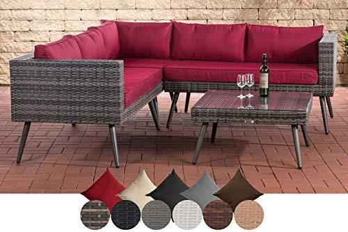 CLP Polyrattan Eck-Loungeset MOLDE I Grau-meliert I Gartenlounge I Eck-Sofa + Glastisch I 1,25mm Rattandicke, Farbe:rubinrot, Sitzhöhe/Farbe:45 cm (Darkgrey)