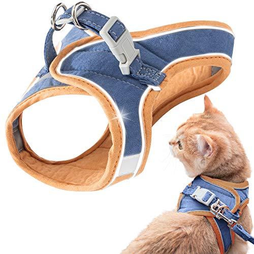 GeeRic Katzengeschirr,Katzengeschirr Ausbruchsicher,Katzen Weste mit Leine, Verstellbare Geschirr für kleine Katze, Escape Proof Cat Harness Set mit reflektierenden Streifen