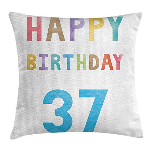 FAFANI 37th Birthday Decorations Throw Pillow Cushion Cover, Simple Anniversary Celebration Soft Tone Wishes Watercolor Image, Decorative Square Accent Pillow Case, 18 X 18 inches, Multicolor