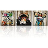 Kolo Wall Art Animals Frog Gorilla Dog Painting Picture on Vintage Wood Background Printed on Canvas Home Wall Decor Art Living Room Bedroom Wall Art (12'x12'x3, Friends)