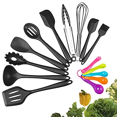 Silicone Kitchen Utensil Set, 10pcs - Heat-Resistant Non-Stick Silicone Cooking Utensils With Solid Core - Baking BBQ Cooking Tool Kit With Spatula, Tongs, Pasta Fork, Turner, Ladle, More (black)