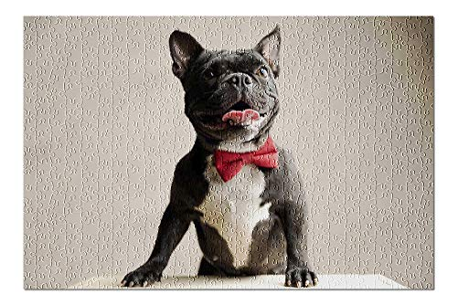 French Bulldog Wearing Red Bow Tie (500 Piece Premium Jigsaw Puzzle for Adults and Family, 13x19)