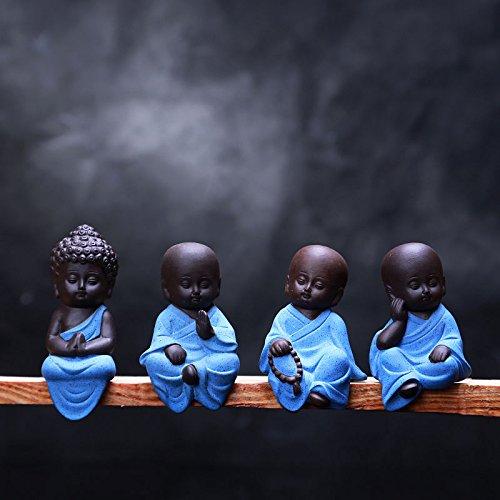 garden mile Set Of 4 Mini Sitting Lucky Buddha Ornaments Home Decor Garden Ornaments Indoor Or Outdoor Feng Shui Meditation Yoga Figurines.