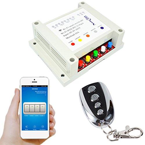 yotijar Interruptores Inalámbricos AC85-265V 4CH WiFi Smart Switch