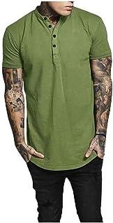 Zimaes Men Hipster Mandarin Collar Short Sleeve Summer Solid Colored Tees Top