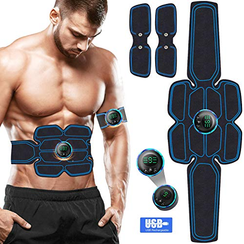 EGEYI EMS Massagegerät,Muskelstimulation Elektrostimulatoren, Muskelstimulator Training Muskelstimulator Elektroden Pads,Bauchmuskeltrainer Damen Herren Elektrisch Muskel