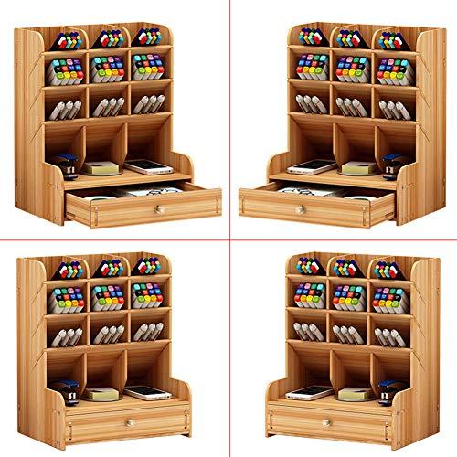 Baoer Schreibtisch-Organizer aus Holz, multifunktional, Stiftehalter, Aufbewahrungsbox für Zuhause, Büro, Bürobedarf, b11, Kirschholz