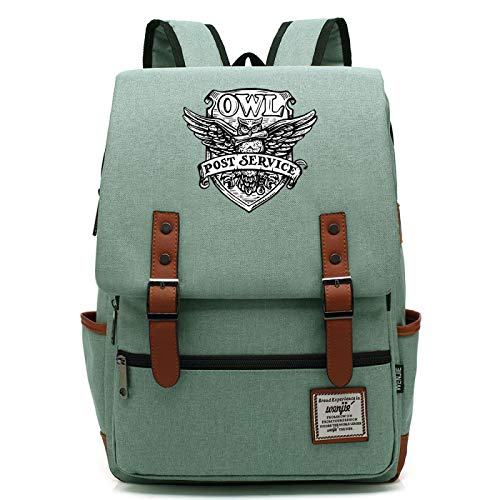 MMZ Anime owl Rucksack, Leisure College School Bag, Waterproof Canvas Book Bag, Suitable for Boys and Girls Aged 7~15 15″x11″x5″ Green