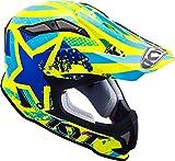 KYT ysea0015.6Casco Moto, Azul/Amarillo, XL