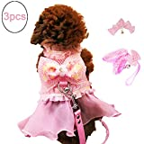 FLAdorepet 3Pcs Pink Dog Bow Dress Harness and Leash Set Breathable Mesh Small Dog Pet Cat Clothes Shirt Costume Dog Skirt,Dress,Hair Bow (L, Pink)