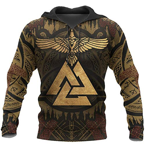 BBYaki Viking Valknut Huginn 3D Printed Fall Hoodie, Der Nordischen Mythologie Odin Raven Tattoo Klassische Zufällige Jacke Pullover,Hoodies,L
