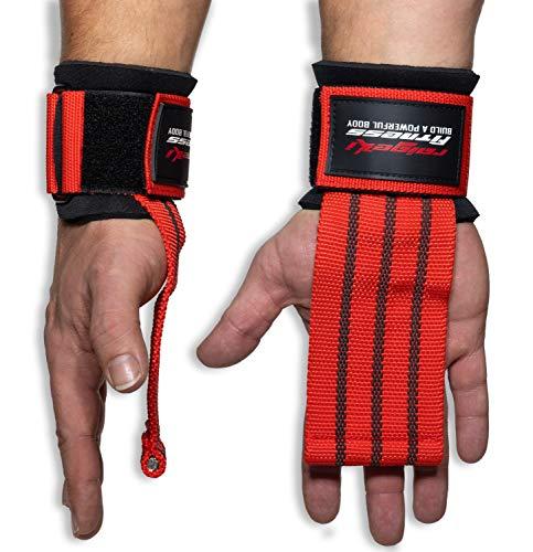 Fast Grip Zughilfen Krafttraining (+Trainingspläne) Profi Schnellverschluss mit Metall-Bolzen für Powerlifting, Crossfit & Fitness - Lifting Straps für Frauen und Männer (Rot)