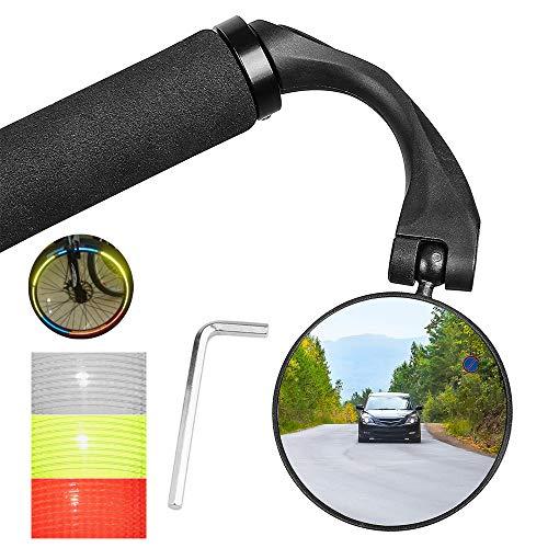 MMTX 1 Pezzi Specchietto Retrovisore Bici Regolabile 360° di Rotazione Specchietti Bici Specchio Convesso Manubrio Montato per Mountain Road Bike,Bici da Corsa (per Manubrio della 17,4 – 22 mm)