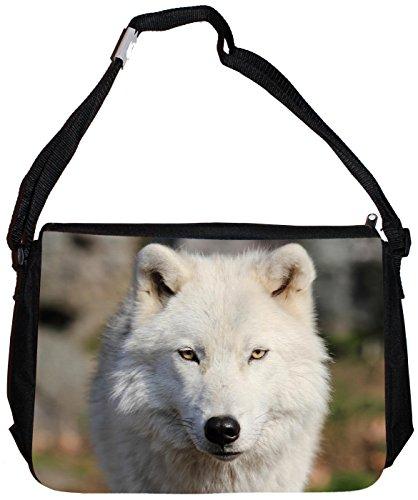 Merchandise for Fans Schultertasche - 38x28x8cm, 8,5 Liter, schwarz Motiv: Wolf/Grauwolf/Polarwolf/Europäischer Wolf - 03