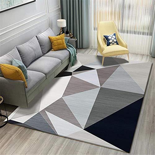 alfombras Grandes Gris Alfombra de Sala de Estar Gris Alfombra Suave con patrón de triángulo Grande se Puede Lavar Alfombra Grande Infantil 120X160CM Alfombra niños Grande 3ft 11.2''X5ft 3''