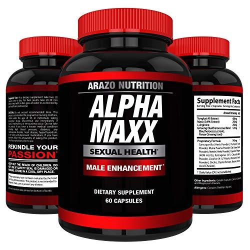 AlphaMAXX Male Enhancement Supplement - Ginseng, Muira Puama, Tribulus - 60 Herbal Pill - Arazo Nutrition