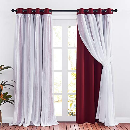 PONY DANCE Blackout Curtains with Sheer - Crushed Voile Mix & Match Thermal Insulated Solid Drapes Decorative Covering for Windows, 52-inch by 95-inch, Red, Set of 2