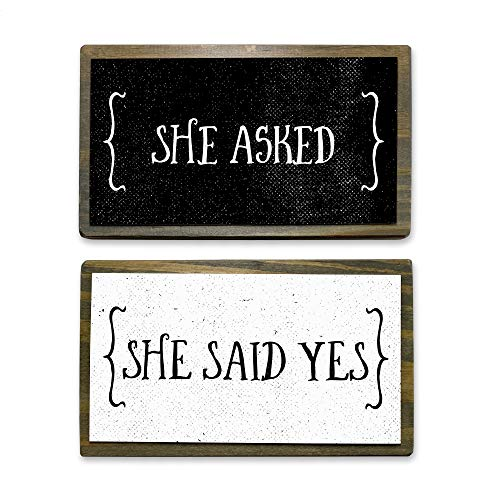 She Asked, She Said Yes- Two Handmade Rustic Couple Metal Wood Signs – Cute Rustic Wall Decor Art - Farmhouse Decorations – Couple Bathroom Signs