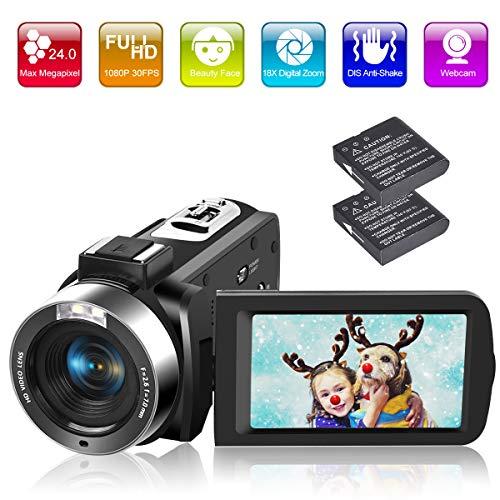 Videocamera Videocamere Full HD 1080P 30FPS 24.0MP Zoom digitale 18X Fotocamera Digitale con Telecomando e Luce di Riempimento a LED