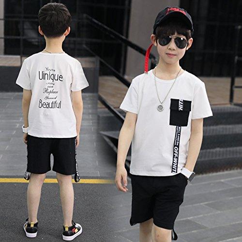 XING GUANG Vêtements pour Enfants Garçon Costume à Manches Courtes Nouveaux Modèles D'été Big Enfants Coréen Lettre Ruban T-Shirt Deux Pièces,White(115cm)
