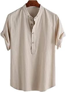 Ptyhk RG Men's Short Sleeve Stand Collar Cotton Linen Solid Button Front Shirts